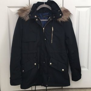 Zara black coat removable lining, hood & faux fur